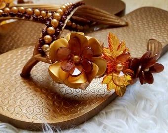 Floral Flip flops hand beaded
