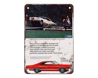 "1967 Ford Galaxie - Vintage Look Reproduction 9"" X 12"" Metal Sign"