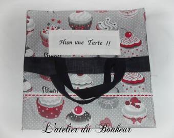 bag has printed pie cupcake, lined with black fabric