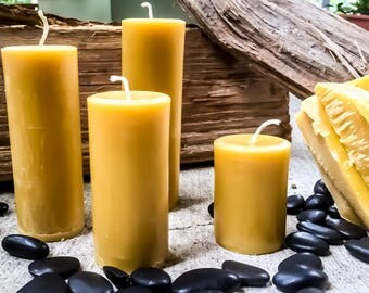 "100%Pure beeswax candle-scented or unscented-pillar candles-beeswax candles-2"" diameter pure beeswax candle-beeswax pillar candle. 3""-15"""