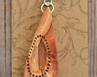 Handmade spalted maple wood pendant