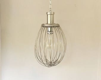 Kitchen Light, Whisk Light, Industrial Lighting, Bakery, Vintage  Light feature, Farmhouse, Fixer Upper style, Up cycled, Edison, Retro.