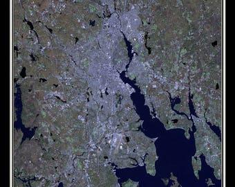 Providence Rhode Island Satellite Poster Map