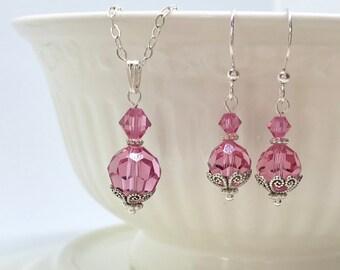 Bridesmaid Earring/Pendant Set, Bridal Party Earring/Pendant Set, Birthstone Earring/Pendant Set