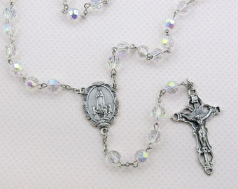 Our Lady of Fatima Rosary 100th Anniversary Fatima rosary w/ rosary pouch & holy card ITALY Crucifix Center 8mm glass beads Catholic Gift