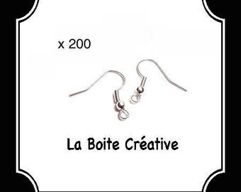 200 SUPPORTS METAL FRENCH HOOKS EARRINGS SILVER