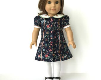 American Girl Doll 40's Style Dress with Embroiderd Collar