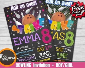 "Bowling Invitation - ""BOWLING BIRTHDAY Invitation"" Bowling Party, Boy Girl Bowling Digital Invite, Tween Teen Birthday Printable, Strike Pin"