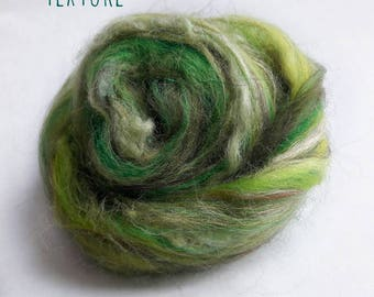 Spinning fiber - Textured fiber nests - Merinos, flax, silk, locks - 50gr - 50 shades of texture - Green