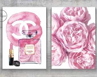 COCO CHANEL WATERCOLOUR Perfume Bottle Lipstick Peonies - 2 x Art Print Canvas