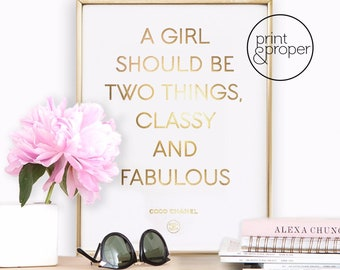 CHANEL Quote 'Classy & Fabulous'  - 1 x A4 - Real gold foil print