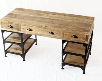 Industrial desk mango wood and metal