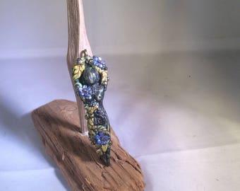 Mother Earth moon goddess pendant handsculpted