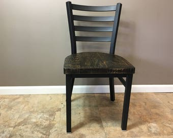 Reclaimed Dining Chair| Flat Black Metal Finish | Ladder Back Metal | Restaurant Grade -18 Inch High Dining Chair