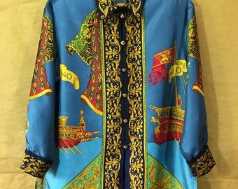 Rare Vintage Roberta Di Camerino Silk Baque Women's Shirt
