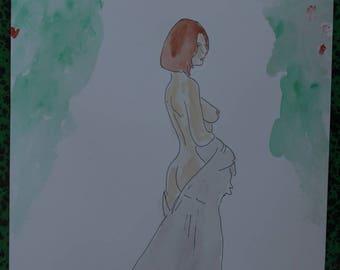 """dessin peinture aquarelle et encre de chine nu  """"Dans le parc"""""""