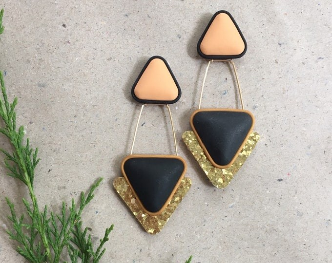 TOWER STUD EARRINGS// Double triangle, Black and peach drop earrings with gold glitter