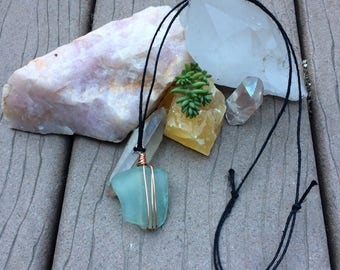 Adjustable Blue Seaglass Necklace