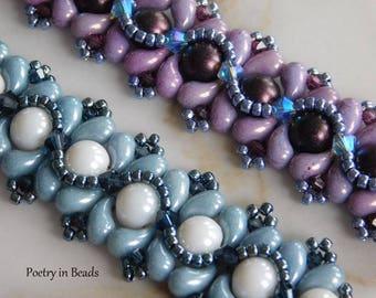 Beading Bracelet Tutorial, Beaded Pattern, La Mer Bracelet Tutorial, Zoliduo Beads, Swarovski bicone, 2 Hole Cabochon, Beadweaving, PDF