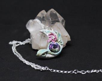 Moon Pendent-Moon Necklace- Swarovski pendent- Flower necklace- Orchid necklace- Pink Orchid