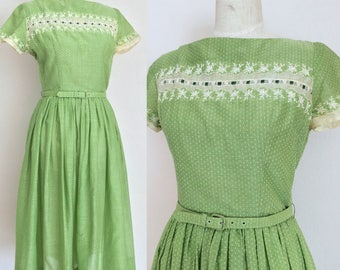 Vintage 1950s Key Lime Green Jonathan Logan Day Dress / 50s Summer Dress / Swiss Dots / Floral Embroidery