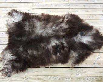 Sheepskin rug soft, volumous throw sheep skin long haired Norwegian pelt natural black grey 18041