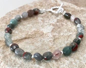 Gray bracelet, African bloodstone bracelet, gemstone bracelet, sterling silver bracelet, sundance style bracelet, Hill Tribe silver bracelet