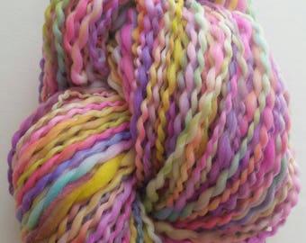 HYDRANGEA skein of yarn spun to spinning wheel.