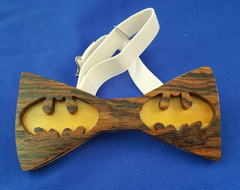 Batman wood bow tie..bocoye wood front..yellowheart back... great Father's day Christmas birthday gift