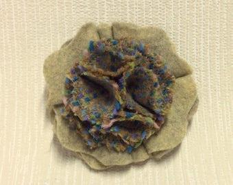 Welsh tweed flower brooch, corsage in green and beige