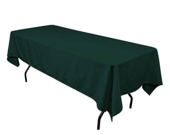 "Hunter Green 60"" x 126"" Rectangular Seamless Polyester Tablecloth For Wedding Restaurant Banquet Party"