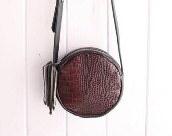Round Cross-Body Bag in Black + Embossed Alligator