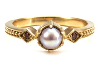 Pearl Engagement Ring - Mauve Freshwater Pearl Set In 18k Yellow Gold with Cognac Diamonds - Gothic Medieval Wedding