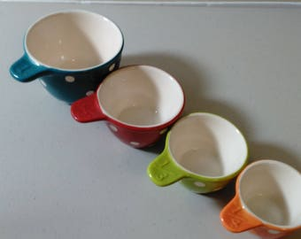 Handpainted Colorful Poreclain  Poka Dot Measuring Cups/Pre Owned Great Condition (L)