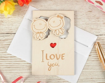 """Wood LOVE card, wood VALENTINES card, wood greeting card, valentines gift, card, love, gift, wooden,  love card """"Lovers"""" PERSONALIZED Free"""