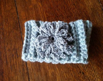 Crocheted Ear Warmer  Silver/Heather