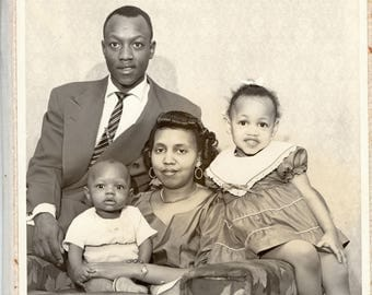 Vintage 8 x 10 african anerican family photo in folder
