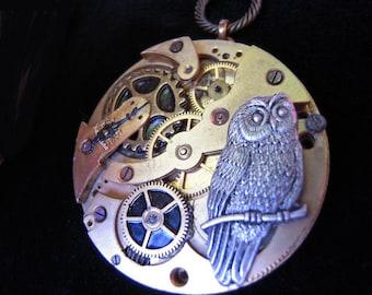 OWL necklace Steampunk necklace OWL Pocket Watch A516 mechanism