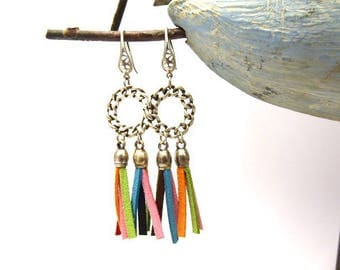 Earrings chains round and colorful leather tassel *.