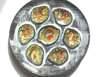 """Oyster Plate MBFA """"PORNIC"""", Hand Painted, Marked"""