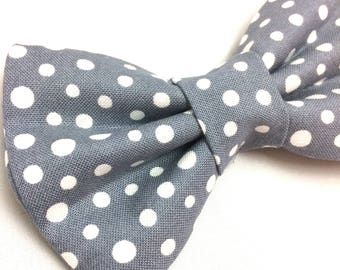 Gray Dot Bow Tie | Dog Collar Bow Tie | Polka Dot Bow Tie | Dog Bow Tie | Pet Bow Tie | Gray Bow Tie | Bow Tie for Dogs