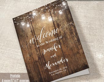 Printable Wedding Program, booklet program template, Printable Wedding Program, Instant Download Self Editable PDF P203-B