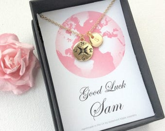 VACATION SALE Personalized Silver compass necklace, journey necklace, travel necklace, good luck, compass necklace, bon voyage gift, MCJGFPE