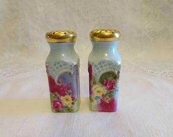 Vintage Porcelain Hand Painted Rose Floral Gold Trim Salt and Pepper Shakers