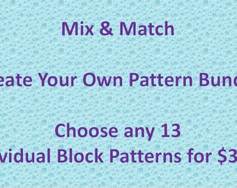 Mix and Match PDF quilt block pattern bundle; Pick 13 individual patterns; applique or paper pieced or quick pieced baby quilt block pattern