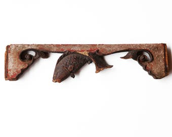 Chinese Antique Hand-Carved wood carving wall art hanging deco sculpture of fish