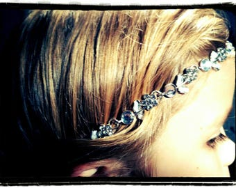 Silver with Rhinestone leaf headpiece