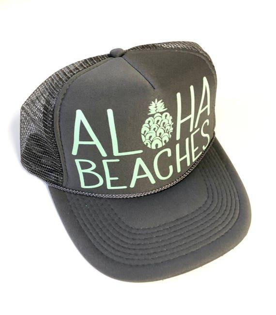 Aloha Beaches Storm| Aloha Trucker Hat| Aloha Hat| Trucker Hat| Hawaii Hat| Pineapple Hat| Pineapple| Beach Hat| Gray Hat