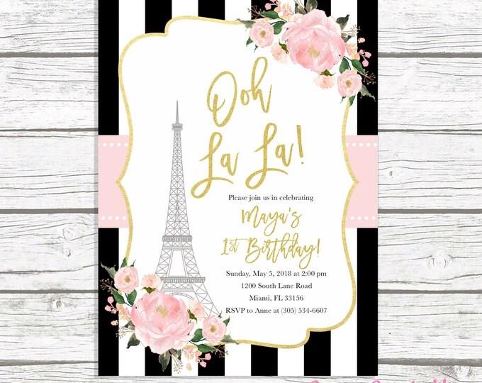 Paris Birthday Invitation, Eiffel Tower Invitation, French Parisian Birthday Invitation, Ooh La La Invite, 1st First Birthday Invitation