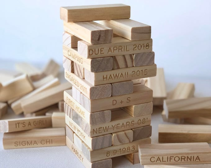 Jenga Personalized Memories Tower Set - Custom Jenga